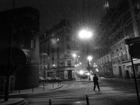 PHOTO rue marcadet montmartre neige hiver Villes  - Rue Marcadet