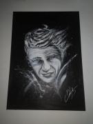 tableau personnages steeve mc queen portrait noir et blanc : STEEVE MC QUEEN