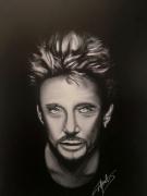 tableau personnages johnny hallyday portrait johnny noir et blanc : JH