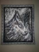 tableau animaux loup contemporain animal tete : WOLF