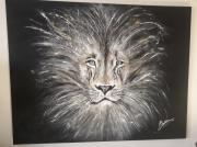 tableau animaux lion tete sauvage contemporain : Lion