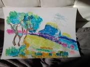 dessin paysages aquarelle paysage provence : Les Baux de Provence
