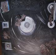 tableau abstrait argente noir : Ron-Ronds