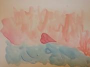 tableau abstrait aquarelle coeur dragon : Coeur de dragon