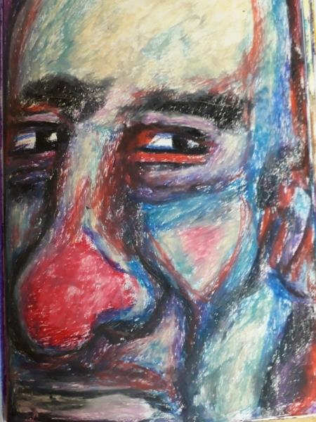 DESSIN portrait clown triste Personnages Pastel  - portrait16
