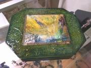 artisanat dart abstrait grand boitier abstraction utilitaire bijoux : In Verde