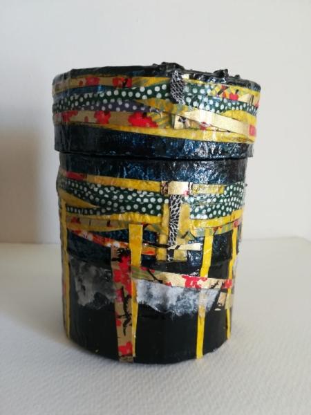 ARTISANAT D'ART boîte tambour boîte à bijoux boîte utilitaire boîte décorative  - Petit Damaru