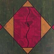 tableau abstrait rouge ocre vert afrique : Africa