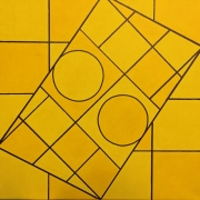 tableau abstrait jaune rond carre : Yellow