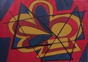 tableau abstrait bleu rouge ocre : Sans titre