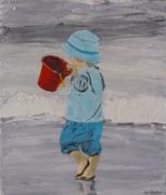 tableau personnages enfant seau mer plage : enfant