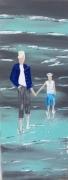 tableau personnages homme enfant plage mer : lui