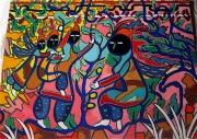 tableau personnages tribus klarwein abstrait colore : Que faire?