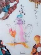 tableau nature morte cafe vitrail gout sens : Le goût du café