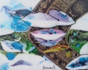 tableau marine peinturesousverre huitres mer iode : Le goût:  Huitres et citron