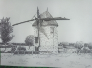 dessin architecture moulin paysage batiment chalons : Le vieux moulin de Châlons en Champagne