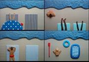 autres personnages tissu plage : La plage (série de 4 tableaux)
