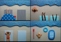 La plage (série de 4 tableaux)