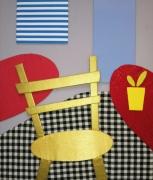 autres nature morte tissu chaise interieur or : Intérieur à la chaise dorée