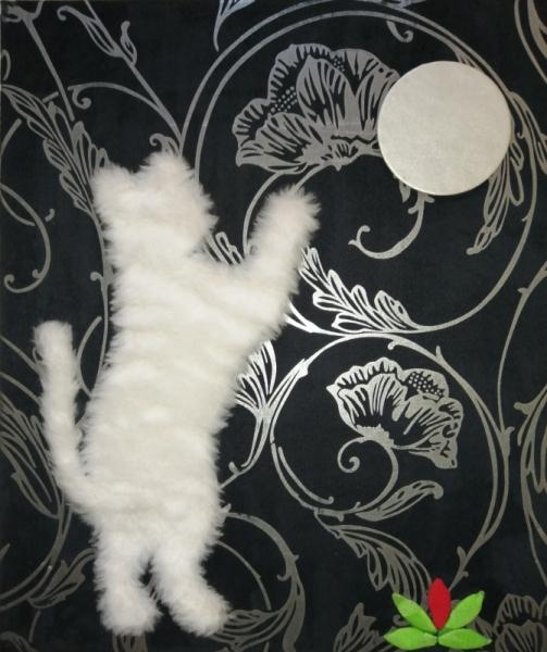 AUTRES tissu chat lune Animaux  - Chat essayant d'attrapper la lune