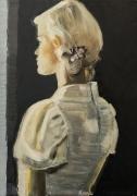 tableau personnages femme portrait : L'attente