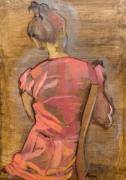 tableau personnages femme robe rouge dos : Femme de dos