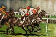 tableau sport cheval jockey course : La course au cavalier rouge