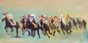 tableau sport cheval jockey course : Le course de chevaux