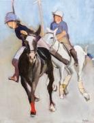 tableau sport polo joueurs cheval : Deux joueurs de polo