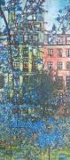 tableau villes bleue maison paris fleur : BLUE LEAVES