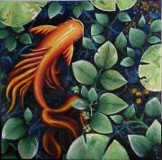 tableau animaux decoratif nature carpe nenuphar : Sous les feuilles