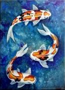 tableau animaux relaxation carpes poisson decoratif : Carpes oranges ondulantes sur fond bleu