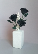 artisanat dart fleurs porcelaine froide roses noires art floral fleurs : Black & White