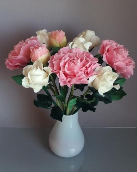 ARTISANAT D'ART Porcelaine froide Roses Pivoines Bouquet Fleurs  - Doux Rêve