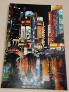 tableau architecture huile new york nuit reflet : NEW YORK NUIT
