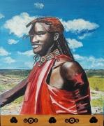tableau personnages huile afrique portrait ethnique : massaï
