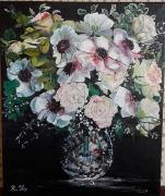 tableau fleurs huile fleurs : bouquet