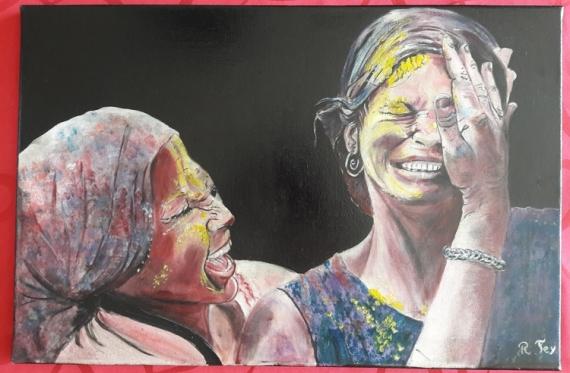 TABLEAU PEINTURE huile femme inde Personnages Peinture a l'huile  - fête de la couleur