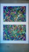 tableau abstrait multicolore moderne contemporain colore : Arlequin