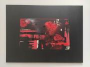 tableau abstrait abstrait rouge noir moderne : Réalité
