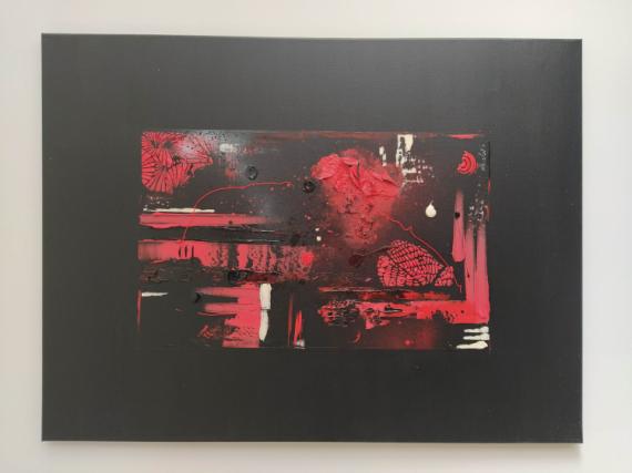 TABLEAU PEINTURE Abstrait Rouge Noir Moderne Abstrait  - Réalité