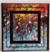tableau abstrait multicolore encadre profondeur jaune : Espace temps