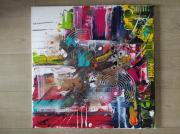 tableau abstrait multicolore : Tourmente