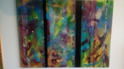 tableau abstrait multicolore bandes vert violet : Reflets