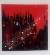 tableau abstrait rouge noir abstrait moderne : Sin city