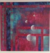 tableau abstrait rond bulle violet bleu : Bulles