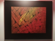 tableau abstrait orange noir rouge moderne : The first one
