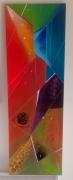 tableau abstrait multicolore graphique moderne ronds : Eclats
