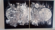 tableau abstrait lune argent noir abstrait : Lunaire