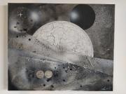 tableau autres lune moon lunaire craquele : Moon